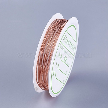 Copper Wire for Jewelry Making, Rose Gold, 20 Gauge, 0.8mm, about 6.56 Feet(2m)/roll(YS-TAC0001-01B-RG)