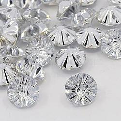 Boutons en acrylique avec strass, 1-trou, facette, rivoli xilion, cristal, 13x8mm, Trou: 1mm(X-BUTT-J002-01)