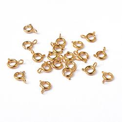 Золотые компоненты тон ювелирные изделия латунь кольцо весной пряжки, 6 мм, отверстие : 1.5 мм(X-EC095-G)