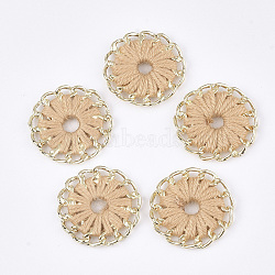 тканые подвески из ниток, сплава с выводами, плоские круглые, золотой, Sandybrown, 27~27.5x3~4 mm, отверстия: 3~5 mm(FIND-S306-11H)