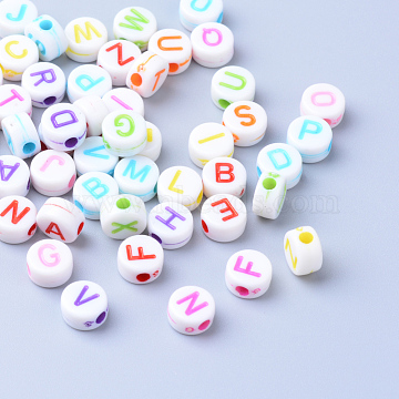 Craft Acrylic Letter Beads, Flat Round, Mixed Color, 6x3.5mm, Hole: 2mm, about 360pcs/50g(X-SACR-S201-11)