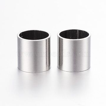 304 Stainless Steel Tube Beads, Stainless Steel Color, 8x8mm, Hole: 7mm(X-STAS-P128-14)