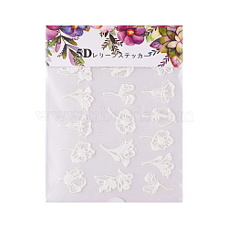 Nail Art Stickers, For Nail Tips Decorations, Flower, Ivory, 63x70.5x0.5mm(X-MRMJ-S025-004O)