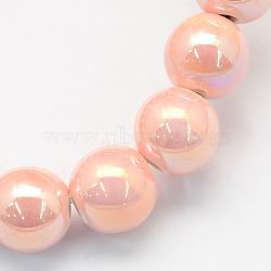 Perles rondes artisanales en porcelaine, de couleur plaquée ab , mistyrose, 9mm, Trou: 2mm(X-PORC-S490-8mm-06)