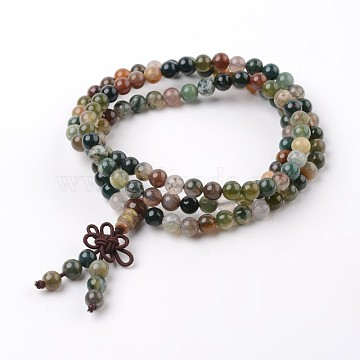 3 Loops Natural Indian Agate Beaded Wrap Bracelets, 620~660mm(BJEW-D399-09)