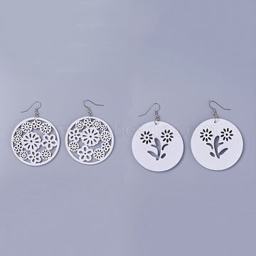 Wood Dangle Earrings, with Platinum Tone Iron Earring Hooks, Flat Round with Flower, White, 68~70mm, Pendants: 49.5x2~5mm, Pin: 0.5mm(X-EJEW-L219-I01)