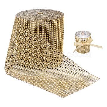 BENECREAT Plastic Mesh Rhinestone Trimming, Rhinestone Cup Chains, Gold, 120mm(DIY-BC0001-03A)