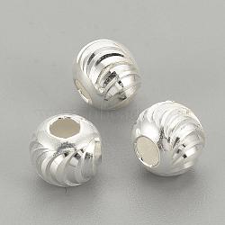 925 perles en argent sterling, arrondir, argent, 5x4.5 mm, trou: 2 mm(X-STER-S002-16-5mm)