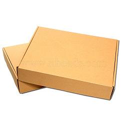 Kraft Paper Folding Box, Corrugated Board Box, Postal Box, Tan, 20x14x4cm(OFFICE-N0001-01B)