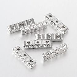 Alliage barre séparateur, avec une teneur de strass grade A, platine, cristal, taille:  Largeur environ 4mm, Longueur 20mm, épaisseur de 5mm, Trou: 1mm(X-ALRI-20X4)