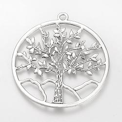 Сплавочные подвески тибетского стиля, без свинца, кольцо с деревом жизни, большие подвески, античное серебро, 61x56.5x1.5 мм, отверстие : 3 мм