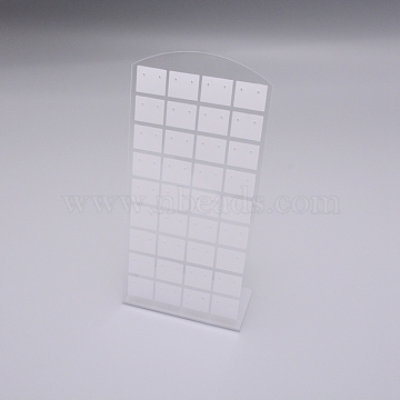 Acrylic Earring Studs Displays. Jewelry Display Rack, 72 holes, Rectangle, White, 4.6x8.9x19.2cm, Hole: 0.14cm(EDIS-WH0006-01A)