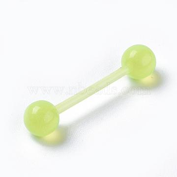Double-headed Acrylic Ear Plugs Gauges, GreenYellow, 27mm; Pin: 1.5mm(EJEW-L206-B01)