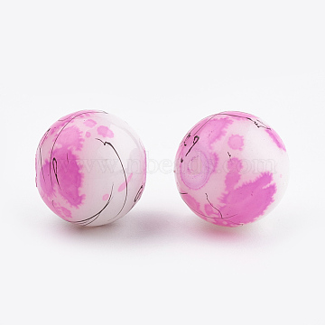 Drawbench & Baking Painted Glass Beads Strands, Round, Fuchsia, 4mm; Hole: 1.1~1.3mm; about 200pcs/strand, 31.4 inches(X-GLAA-S176-4mm-09)