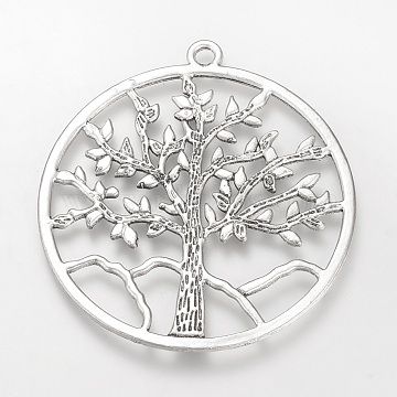 Tibetan Style Alloy Pendants, Cadmium Free & Lead Free, Ring with Tree of Life, Big Pendants, Antique Silver, 61x56.5x1.5mm, Hole: 3mm(X-TIBE-S310-036AS-LF)