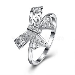 Bowknot mode 925 en argent sterling anneaux zircone cubique doigt, taille 7, platine, 17.3mm(RJEW-BB17129-7)