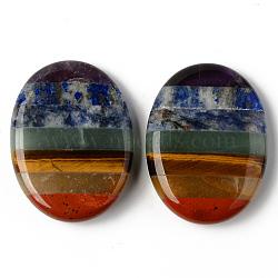 Chakra Worry Stone, Assembled Natural Amethyst & Lapis Lazuli & Sodalite & Green Aventurine & Tiger Eye & Topaz Jade & Red Jasper, Oval, 40.5x30.5x8.5mm(G-R478-10)
