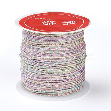 8-Ply Metallic Cord for Jewelry Making, Colorful, 0.8mm, about 27.34 yards(25m)/roll(X-MCOR-CJC0001-01G)