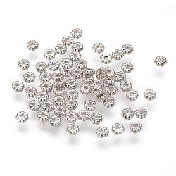Entretoise plastique ccb de fleurs, platine, 4x1.5mm, Trou: 1mm(CCB-J028-70P)