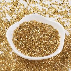 perles de verre mgb® matsuno, perles de rocaille japonais, 11 / 0 argent bordée trous ronds perles de rocaille de verre, deux coupe, hexagone, verge d'or, 2x2x2 mm, trou: 0.8 mm; environ 1640 pcs / 20 g(X-SEED-Q023A-32)