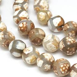 Perles de style tibétain, agate naturel, teint, facette, rond, blanc, 8mm, Trou: 1mm(TDZI-G002-8mm-01)