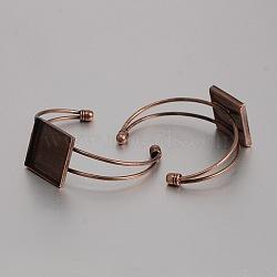 латунь манжеты браслет решений, пустое основание браслета, с квадратным лоток, никель свободный, красной меди, 62 mm, лоток: 25x25 mm(KK-J184-51R-NF)