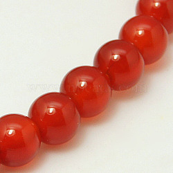 Natural Carnelian Bead Strands, Dyed, Grade A, Round, 8mm, Hole: 1mm; about 48pcs/strand, 15.5