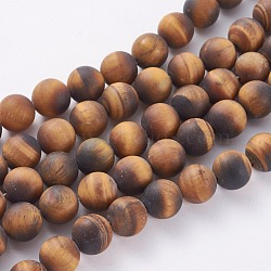 Natural Frosted Tiger Eye Round Bead Strands, Grade A, 10mm, Hole: 1.5mm; about 37~39pcs/strand, 14.9~15.6inches