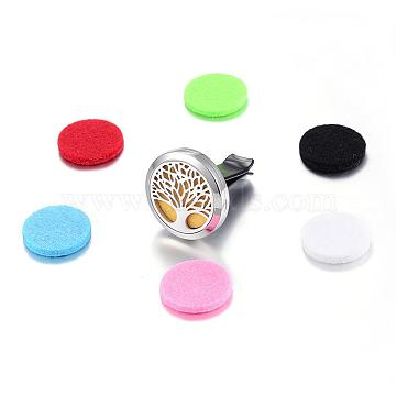 316 Surgical Stainless Steel Car Diffuser Locket Clips, with Perfume Pad and Magnetic Clasps, Flat Round with Tree of Life, Mixed Color, 30x7mm(STAS-H336-04)