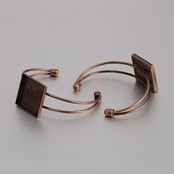 Brass Cuff Bangle Making, Blank Bangle Base, with Square Tray, Nickel Free, Red Copper, 62mm, Tray: 25x25mm(KK-J184-51R-NF)