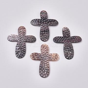 Black Lip Shell Cabochons, Cross, 60x47x2mm(SSHEL-L013-04)