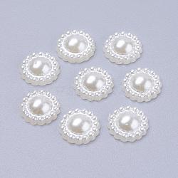 10.5 mm tournesol acrylique perles cabochons flatback pour la fabrication de bracelets, teint, blanc crème, 10.5x4.5mm(X-MACR-F016-22)