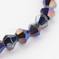 Glass Beads Strands, Bicone, Black, AB Color Plated, 4mm, Hole: 1mm, about 70pcs/strand, 10.63 inches