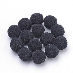 Artisanat de poupée bricolage, boule de pom pom de polyester, rond, noir, 27~30mm(AJEW-T001-30mm-07)