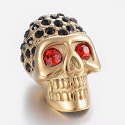 304 Stainless Steel Rhinestone Beads, Large Hole Beads, Skull Head, Ruby, Golden, 21.5x13x13mm, Hole: 6mm(STAS-H446-90G)