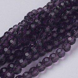 Chapelets de perles rondes en verre à facettes, Darkviolet, environ 6 mm de diamètre, trou: environ 1 mm, Environ 50 pcs/chapelet, 13
