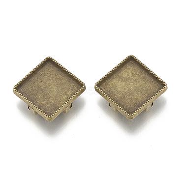 Tibetan Style Alloy Slide Charms Cabochon Settings, Cadmium Free & Nickel Free & Lead Free, Rhombus, Antique Bronze, Tray: 15x15mm, 23x23x5.5mm, Hole: 2x11mm(X-TIBE-T012-01AB-FF)