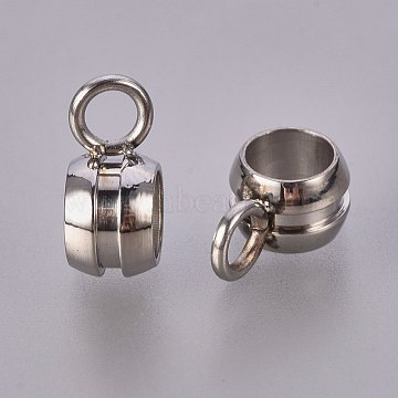 304 Stainless Steel Hanger Links, Bail Beads, Cup, 9x5.5mm, Hole: 2mm(X-STAS-AB636-P)