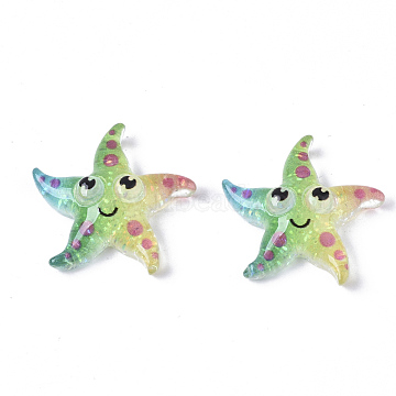 Resin Cabochons, with Glitter Powder, Starfish, Colorful, 21x21.5x6.5mm(X-CRES-R430-05)