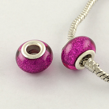 14mm Magenta Rondelle Acrylic Beads