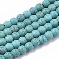 синтетических нитей бирюзовые бусы, вокруг, бирюзовый, 4 mm, отверстия: 1 mm, о 90 шт / прядь