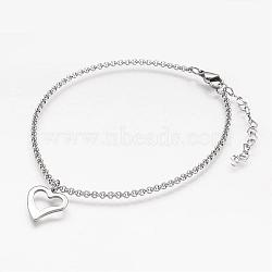 304 Stainless Steel Anklets, with Heart Charm and Rolo Chains, Stainless Steel Color, 232x2mm(AJEW-AN00199)