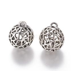 style tibétain pendentifs en alliage de cloche, arrondir, argent antique, 31x25 mm, trou: 3 mm(TIBEP-F072-03AS)