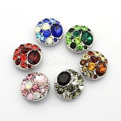 Alliage de zinc strass bijoux plat rond boutons pression, Sans cadmium & sans nickel & sans plomb, couleur mixte, 20x9mm(X-SNAP-L002-18-NR)