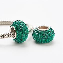 Perles européennes en cristal autrichien, Perles avec un grand trou   , le noyau en argent 925, rondelle, 205 _emerald, 11~12x7.5mm, Trou: 4.5mm(STER-E049-E03)