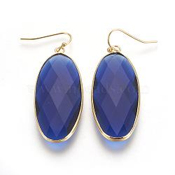 Boucles d'oreilles avec pendentif en laiton, avec la glace, ovale, or, bleu, 54 mm; broches: 0.7 mm(EJEW-O083-03G-A)