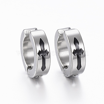 304 Stainless Steel Clip-on Earrings, with Enamel and Cross, Stainless Steel Color, 13x4mm(EJEW-H351-10P)