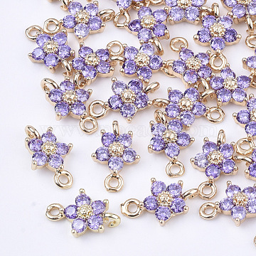 Transparent Glass Links connectors, with Brass Findings, Faceted, Flower, Light Gold, Medium Purple, 12.5x8x4mm, Hole: 1.4mm(X-GLAA-T007-19B)