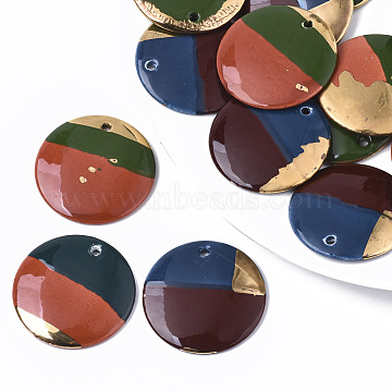 Handmade Porcelain Pendants, Ornamental with Gold, Flat Round, Mixed Color, 39x4.5mm, Hole: 2.5mm(PORC-S501-032)