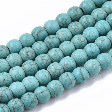 Synthetic Turquoise Beads Strands, Round, Turquoise, 4mm, Hole: 1mm, about 90pcs/strand(X-TURQ-S192-4mm-2)